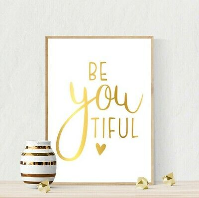 Modern Beautiful Be You Inspiring Girl Quote Print Nursery Bedroom Art Picture