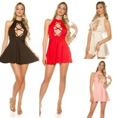 Abito donna corto mini dress gonna svasata scollatura profonda aperta sexy