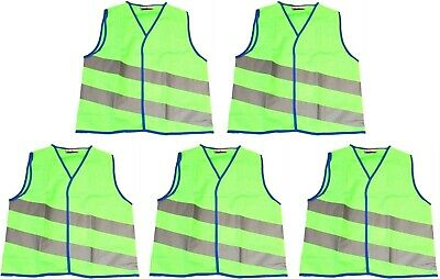 NEON STARS 5x Childs HI VIS WAISTCOAT High Visibility Vest GREEN Medium 7-8 Yrs