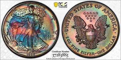 MS65 1989 $1 American Silver Eagle PCGS Secure- Rainbow Toned
