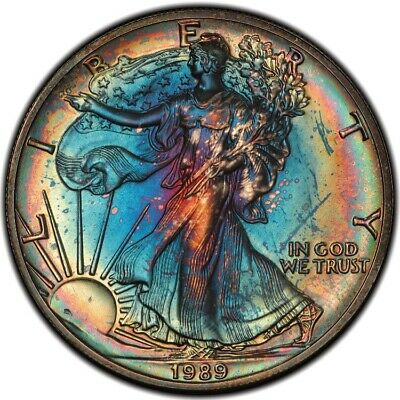 MS66 1989 $1 American Silver Eagle PCGS Secure- Rainbow Toned