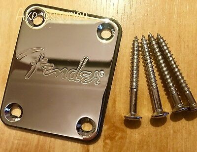 🇬🇧Fender Logo Chrome Neck Plate & Screws Squier Strat Tele Jag Bass U.K seller
