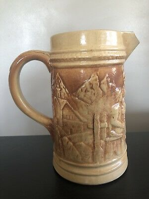 Signed Antique Hull Country Bar Beer Tavern Art Relief Stoneware Pottery Pitcher