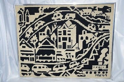 Mid Century Awesome '69 Black & Ivory Vintage Completed Wall Art NEEDLEPOINT
