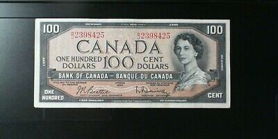 1954 Bank Of Canada $100.00 (Hundred ) Banknote Beattie Rasminsky Modified