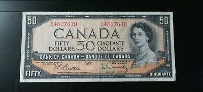1954 Bank Of Canada $50.00 Banknote Beattie Rasminsky Modified Portrait