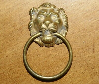"Brass Lion Head Drawer Pull Handle Door Knocker / Towel Holder 4""L x 2.75""W"