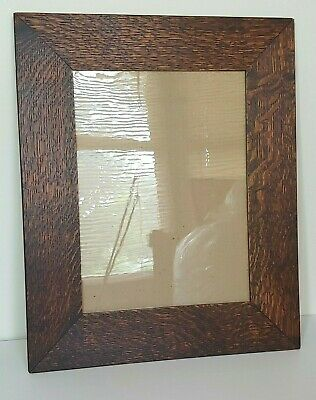 Antique Mission Oak Picture Frame Quarter Sawn Arts & Crafts Style W Old Glass