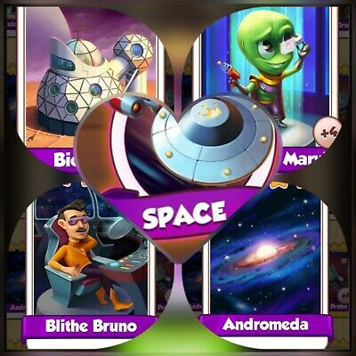 Coin Master Cards *** 4 Cards from Space set *** Fast Delivery