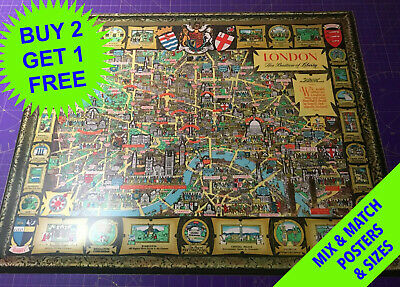 London, The Bastion of Liberty • 1947 • Pictorial Old Antique Map