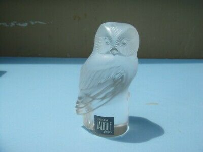 SIGNED LLALIQUE CRYSTAL OWL CLEAR FROSTED PAPERWEIGHT CHOUETTE w/ ORIGINAL LABEL