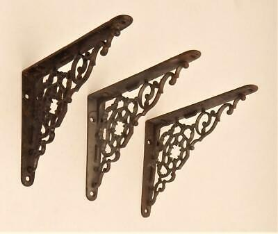 3 Ornate Antique Victorian Matching Cast Iron Wall Shelf Support Brackets
