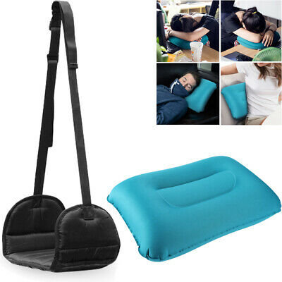 Foot Rest Hanger Relax Travel Hammock Airplane w/ TPU Inflatable Pillow
