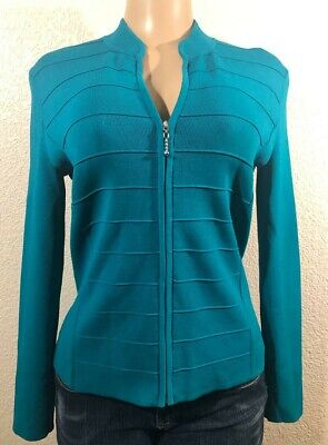 Cable & Gauge Women Sz M Casual Long Sleeve Solid Color Zipper Turquoise C1