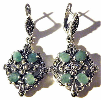 Vintage Art Deco Silver Earrings Emerald Stamped 925 Marcasite Victorian Retro