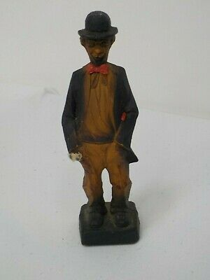 Vintage Carved Wood Man with Hat and Hanky Marked Germany Anri ? Black Suit