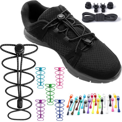 Elastic Laces Lock Shoelaces Running Triathlon Sports Shoe Trainer No Tie sm