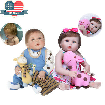 "23"" Reborn Twins Girl&Boy Silicone Vinyl Full Body Reborn Doll Real Babies"
