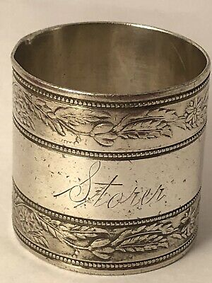 VICTORIAN/EDWARDIAN STORER MONO SILVERPLATE FLOWER SHRUB NAPKIN RING 052319aEZH