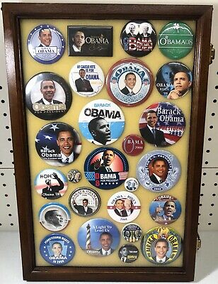 Barack Obama Presidential Campaign Buttons in Case (26 Buttons) Case Included
