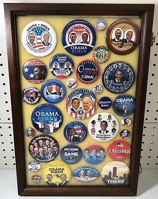 Barack Obama Presidential Campaign Buttons in Case (31 Buttons)
