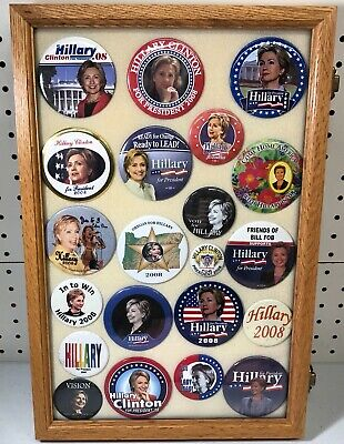 Hillary Clinton Presidential Campaign Buttons in Case (21 Buttons) Case Included