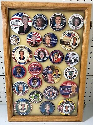 Hillary Clinton Presidential Campaign Buttons in Case (24 Buttons) Case Included