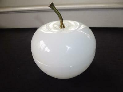 Antique White Opaline Apple Casket Covered Box Large French?