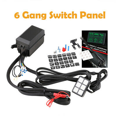 6 gang switch panel on/off relay fuse control box bracket wiring offroad atv  utv