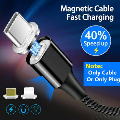 3A Fast Magnetic USB Cable Micro IOS Type-C 1M/2M Nylon Braided Adapter Cord