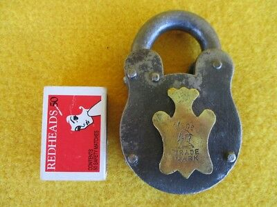 Vintage Antique Padlock Britannia Metalware Brass Keyhole Cover Old Collector