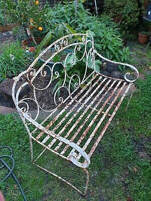 Vintage White Painted Wrought Iron Garden Seat