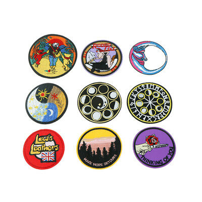 Embroidered round Sew Iron On Patches Badge Fabric Bag Clothes Applique Craft UQ