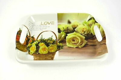 tolles Tablett Serviertablett Rosen-Design LOVE in gelb klein 30 x 23 x 3 cm