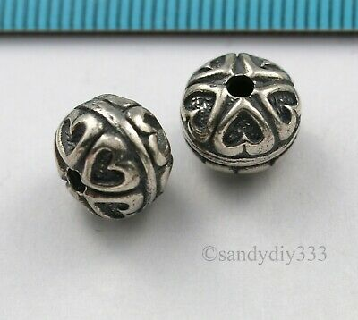 1x BALI STERLING SILVER ROUND FOCAL HEART SPACER BEAD 10mm N490