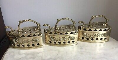 3 Vintage Ornate Brass Latch Hinged Brass Handle Coal Sad Iron sadiron Doorstop