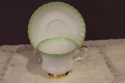 Royal Albert Rainbow Teacup And Saucer Green And White