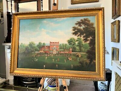 The Georgian Cricket Game - SUPERB ANTIQUE 18thc OIL ON CANVAS STYLE PAINTING