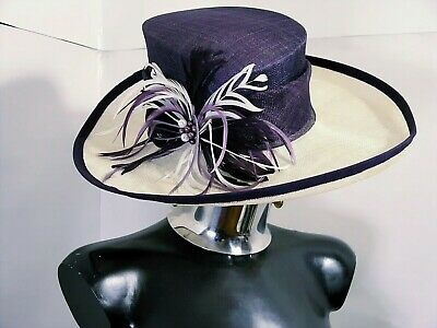 JACQUES VERThat wide brim capon feather and pearl purple natural fibers with box