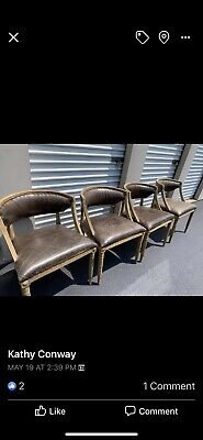 Restoration Hardware WOOD LEATHER NAILHEAD BELGIAN SWEDISH STYLE Chairs HAMPTONS
