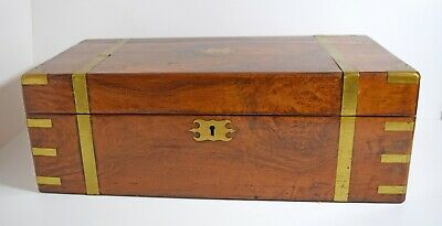 Extra large Victorian brass bound mahogany writing slope secret drawers inkwell