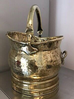 Small Vintage Brass English Swing Handle Coal Bucket Scuttle For Hearth 755G