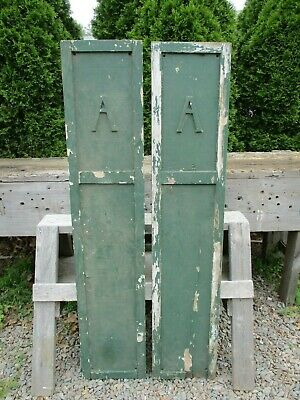 """2 Vintage Wood Shutters w/ Letter """"A"""" on Each, 52 7/8""""H x 10 7/8"""", She Shed"""