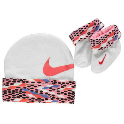 Authentic NIKE Hat Bootie Set GIRLS BABIES 0-6 Months WHITE Pink CORAL * RRP £10