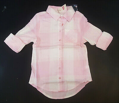 NWT Justice Kids Girls Size 6 7 10 12 14 16 18 20 Pink Plaid Button Down Shirt