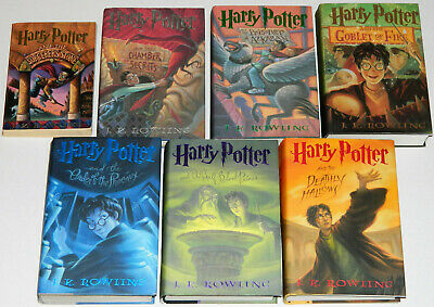 Lot of 7 Harry Potter Books Complete Set Book 1 PB Books 2-8 HC JK Rowling