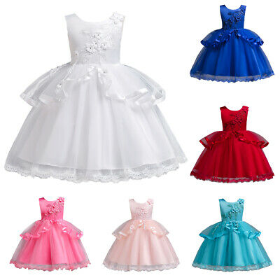 Girls Kids Princess Dress Tulle Tutu Pageant Flower Bow Wedding Party Gown From