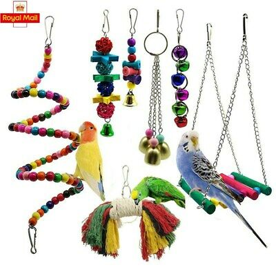 7 Pack Beaks Metal Rope Small Parrot Budgie Cockatiel Cage Bird Toys Uk Stock