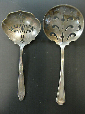 Antique Sterling silver pair of berry spoons hallmarked ornate