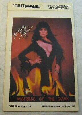 "HIT PARADE ""Elvira: Mistress of The Dark - Mini poster"" sticker, 1983, RARE! vtg"